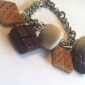 S'Mores Charm Bracelet, Polymer Clay Food Jewelry