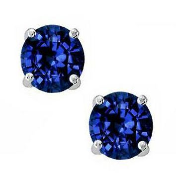Spectacular Round Cut Blue Sapphire AAAAA Cubic Zirconia Stud Earrings