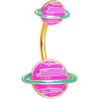 Gold Tone Pink Planet Saturn Double Mount Belly Ring