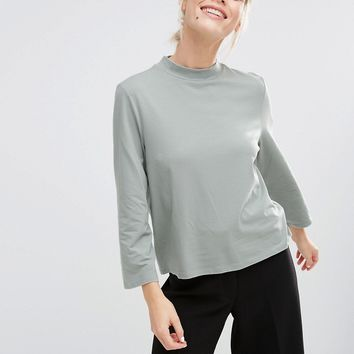 Monki Jersey High Neck Top
