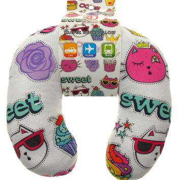 White Travel Neck Pillow Choice of Styles Unicorn Latte Pizza Lipstick Cat Roses