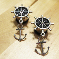 "2g 0g 00g 7/16"" 1/2"" 9/16"" 5/8"" 3/4"" 7/8"" 1"" / Nautical Anchor Ship Wheel Rudder / Plugs Gauges Stretchers Earrings / Stainless Steel"
