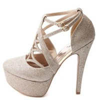 Qupid Cut-Out Caged Glitter Platform Pumps - Champagne