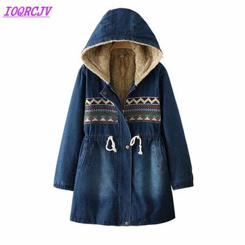 Winter jackets for women 2018 Flocking Denim coat Plus size lambswool Hooded tops Thick Warm female jeans jackets IOQRCJV H476