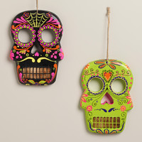 Neon Wooden Skull Wall Decor, Set of 2 - World Market