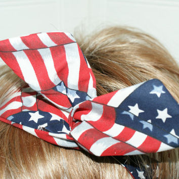 Retro Style Dolly Bow Patriotic Wire Twist Headband Red White Blue USA