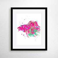 Betta Fish Print, Betta Fish Art, Watercolor Betta Fish, Fish Art Print, Watercolor Fish, Nursery Art Print, Watercolor Art, Aquarium