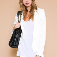 Cain Fitted Single Breast Blazer - White