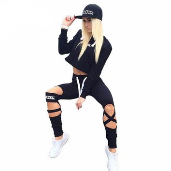 LMFOK2 OPAL FERRIE - 2017  Black Open Cross Pants and Crop Top Letter Print Tracksuit