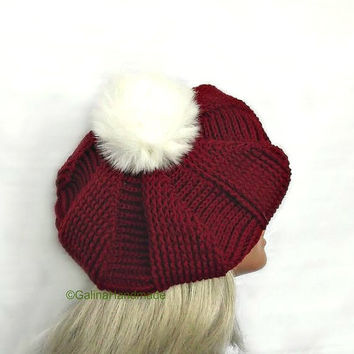 Christmas  Hat,Crochet Beret,Slouchy Beret, Fall Winter Hat,Women's French Hat,Women's  Teen Girl Beret,Red ,White Fur PomPom,Christmas Gift