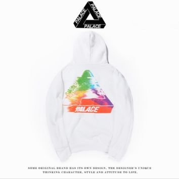 PALACE fuzzy color triangle cotton hooded sweater street skateboard jacket White