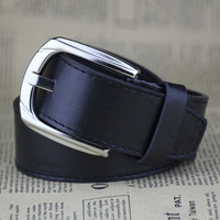 Black Faux Leather Pin Buckle Belt