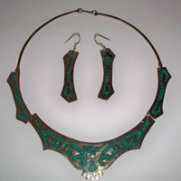 Vintage Alpaca Turquoise Malachite Silver Necklace Choker Earring Set Mexico Silver Jewelry Perfect for Summer
