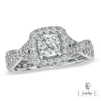Vera Wang LOVE Collection 1-1/3 CT. T.W. Cushion-Cut Diamond Frame Twist Engagement Ring in 14K White Gold - View All Rings - Zales