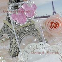 United Electek® 3D Clear Crystal Bling Case Cover with Pink Rhinestone Mickey Minnie Mouse for iPhone 5 - Comes with Pink Gift Box Package and Velvet Pouch