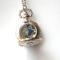 "Doctor Who Tiny Pocket Watch Necklace ""Bad Wolf"""