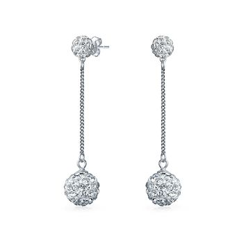 Crystal Round Disco Ball Drop Prom Dangle Earrings Sterling Silver