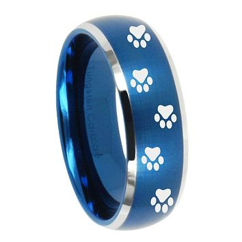 8MM Brush Blue Dome Paw Print Design Tungsten Carbide 2 Tone Laser Engraved Ring