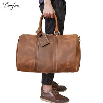 Men vintage crazy horse leather travel duffel Thick Real leather weekend bag Big Genuine leather shoulder bag Tote bag