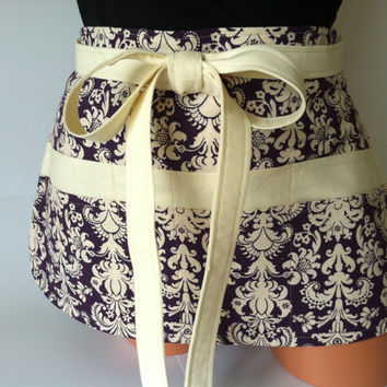 Damask Vendor Apron - Deep Plum Purple Vanilla Cream Damask with Pockets, Sexy Apron, Simple Classy Elegant Apron, Tool Belt, Server Apron