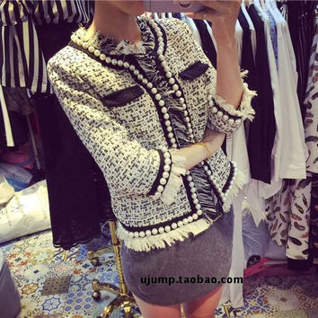 2016 spring/summer tweed tassel Jacket designer cc brand women short Slim Woolen pearl Houndstooth Coat luxury runway cc blazer