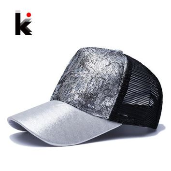 DKF4S Casual Hats For Women Sequins Flashes 5 Panel Trucker Hip Hop Cap Girl 's Breathable Mesh Hat Summer Baseball Bone Feminino