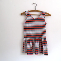 Girls nautical dress - 1970s vintage cotton red white blue striped tunic - drop waist - sleeveless - child size 10