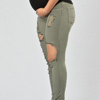 Glistening Maternity Jeans - Olive
