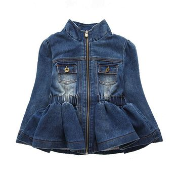 Baby Girls Kids Lace Cowboy Jacket Denim Top Button Jean Jackets Coats Costume Long Sleeve Jackets Outfits