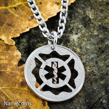 Fireman EMT couples necklace, hand cut coin jewelry