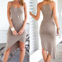 Gray Spaghetti Strap Midi Dress