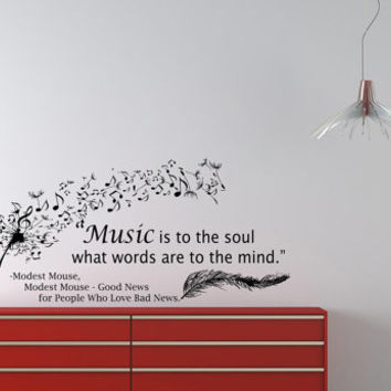Housewares Wall Vinyl Decal Quote Modest Mouse Dandelion Feather Music Notes Sticker V80