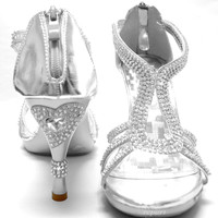 New women's shoes stilettos rhinestones back zipper wedding prom party silver