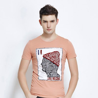 Stylish Casual Print Round-neck Cotton Men's Fashion T-shirts [6542446403]
