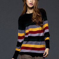 Wholesale Online Stripes Ladies Sweaters Black : Wholesaleclothing4u.com