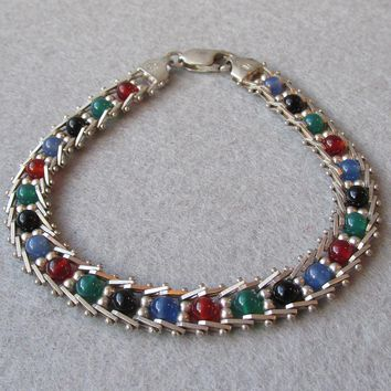"Italian Sterling Silver Multi Gemstone Bead Vintage Bracelet 8"" LONG"