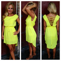 Neon Yellow Cross Back Hi Low Dress