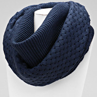 Blue Basket Weave Knitted Basket Scarf