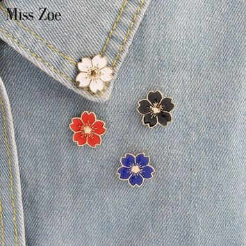 Miss Zoe 5pcs/set Cherry Blossoms Flower Brooch Pins Button Pins Denim Jacket Pin Badge Japanese Style Jewelry Gift for Girls