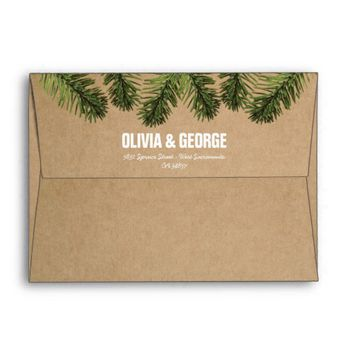 Rustic Brown Green Christmas Tree Foliage Envelope