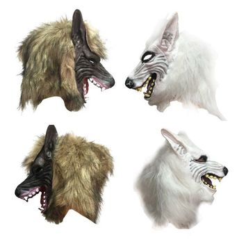 Creepy Halloween Mask Party Decors Wolf  Head Mask Costume Theater Prop Latex Rubber Novelty Masks Latex Animal Masks