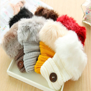 Hot Winter Luvas faux fox Fur fingerless Gloves Woman Knitted Wrist Glove half Finger Gloves Wrist Hand Warmer Mittens Autumn Q2