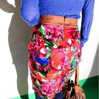 Vtg 60s style Floral HW Fx Suede Panel Pencil Skirt SM - eBay (item 320612447313 end time  Feb-01-11 01:09:27 PST)