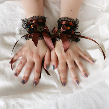 Black-brown steampunk lolita princess romantic fairy fantasy wrist cuffs / bracelets / wrist wraps
