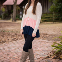Simply Frilling Top, Beige/Navy