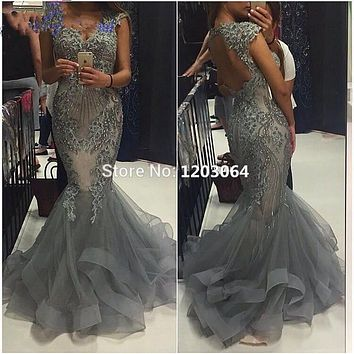 High Quality Sweetheart Mermaid Evening Dress Beads Mermaid Dress Long Elegant Prom Dresses Robe De Soiree Gray Tulle Prom Dress