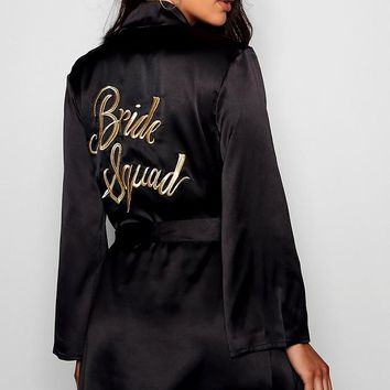 Bride Squad Metallic Embroidered Robe | Boohoo