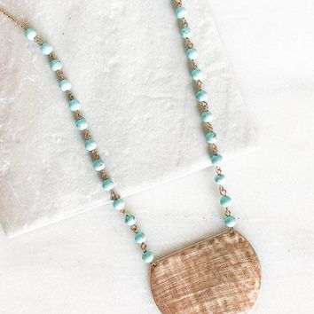 Turquoise & Gold Sun Dial Necklace