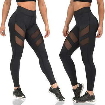 LoRun 2017 Sexy Mesh Yoga Pants High Elastic Quick Dry Fitness Leggings Girls Sports Trousers Skinny Jogger Yoga Leggings Wear