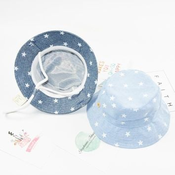 Soft Cooton Hats For Baby Girls Boys Summer Baby Sun Hat Infant Bucket Blue Hat Denim Toddler Accessories For Photography